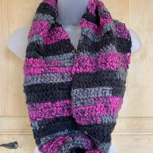 Hand Knit Continuous Loop Scarf in Purples